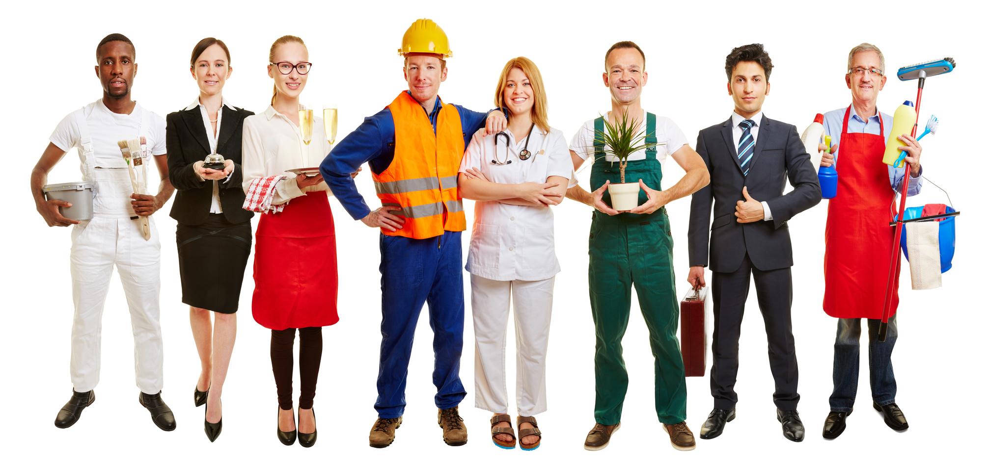 Gruppe mit vielen Berufen als Jobcenter Werbung
