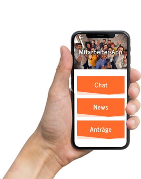 Smartphone mit beispielhafter Mitarbeiter-App